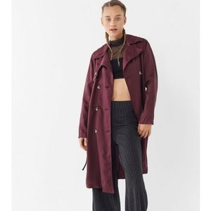 NEW UO Maroon Trench Coat Double Breasted Jacket
